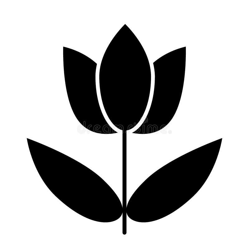 Fleur avec l'icône de solide de feuilles Illustration simple de vecteur de fleur d'isolement sur le blanc Fleur sur une conceptio illustration libre de droits