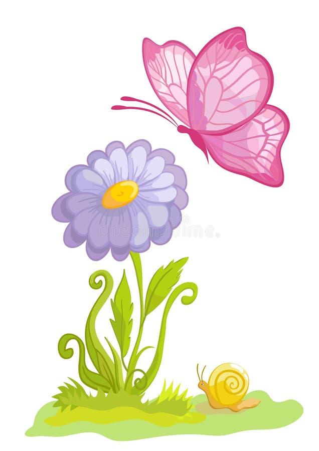 Fleur avec le guindineau illustration de vecteur