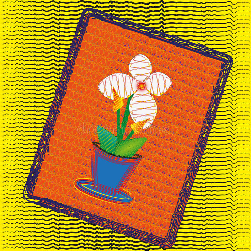 Fleur blanche d'illustration dans un pot illustration stock
