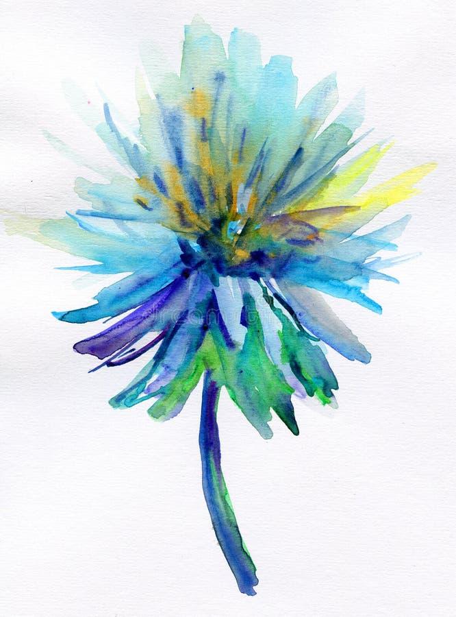 Fleur bleue d'aquarelle illustration stock