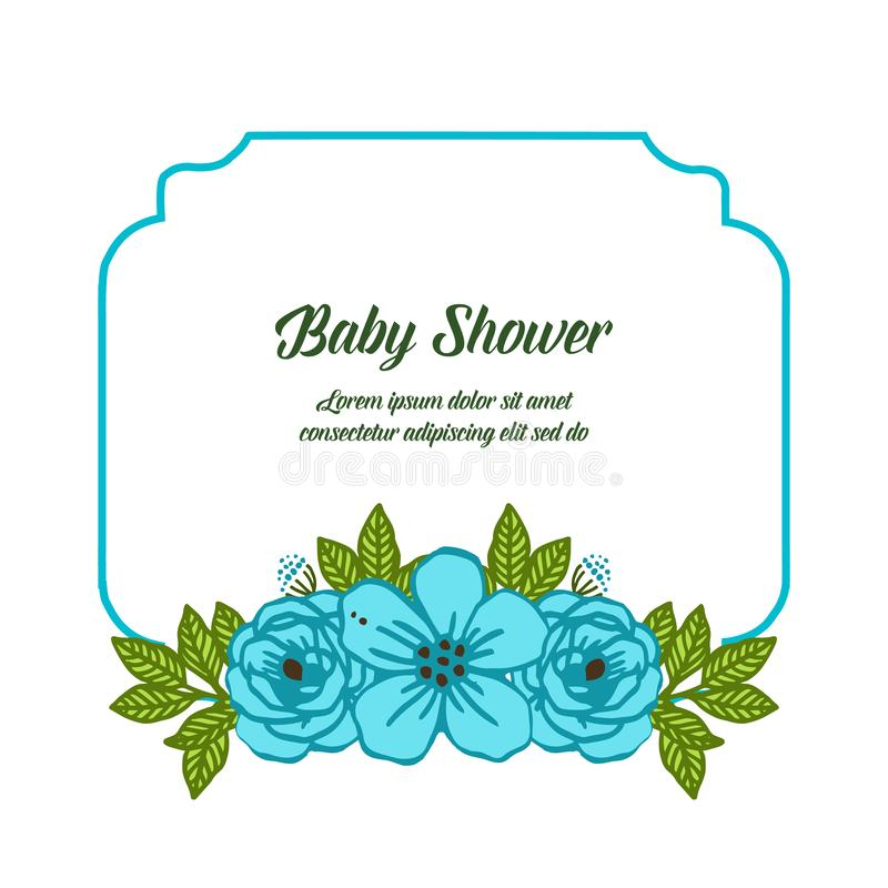 Fleur bleue d'illustration de vecteur la diverse encadre des fleurs pour la fête de naissance illustration stock