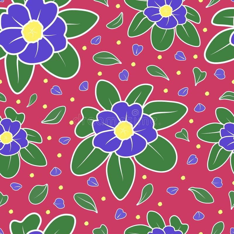 Fleur bleue et fond sans couture de modèle de vecteur de répétition aléatoire verte de feuilles illustration libre de droits