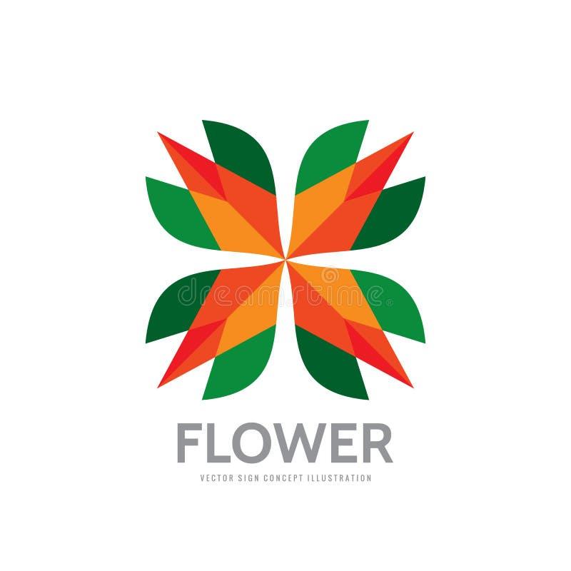 Fleur - calibre abstrait de logo de vecteur - signe de concept Quatre formes colorées Signe géométrique de couleur Symbole d'étoi illustration stock