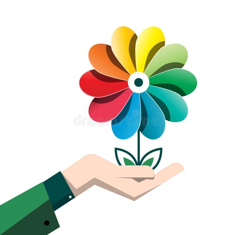 Fleur colorée de vecteur de ressort dans la main humaine illustration libre de droits