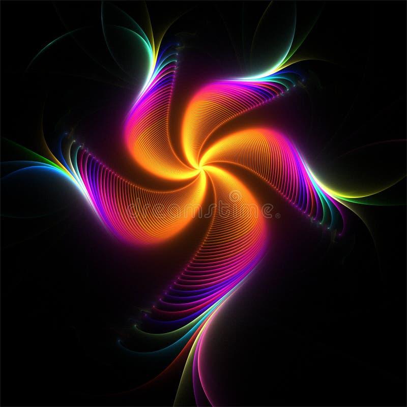 Fleur colorée fantastique d'art abstrait de fractale sur le fond noir illustration stock