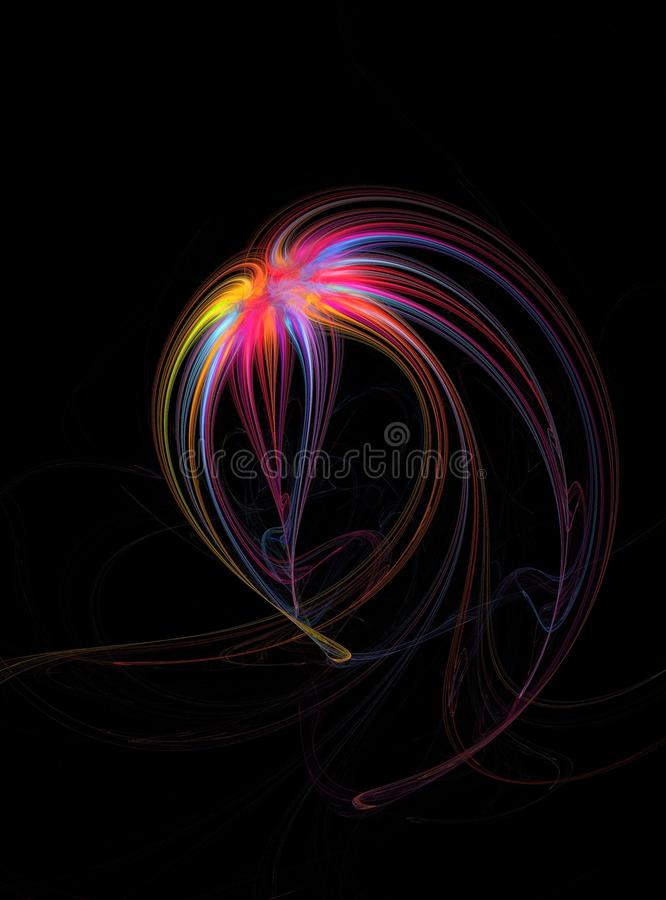 Fleur colorée par arc-en-ciel abstrait Impression florale multicolore abstraite de fractale sur un fond noir illustration stock