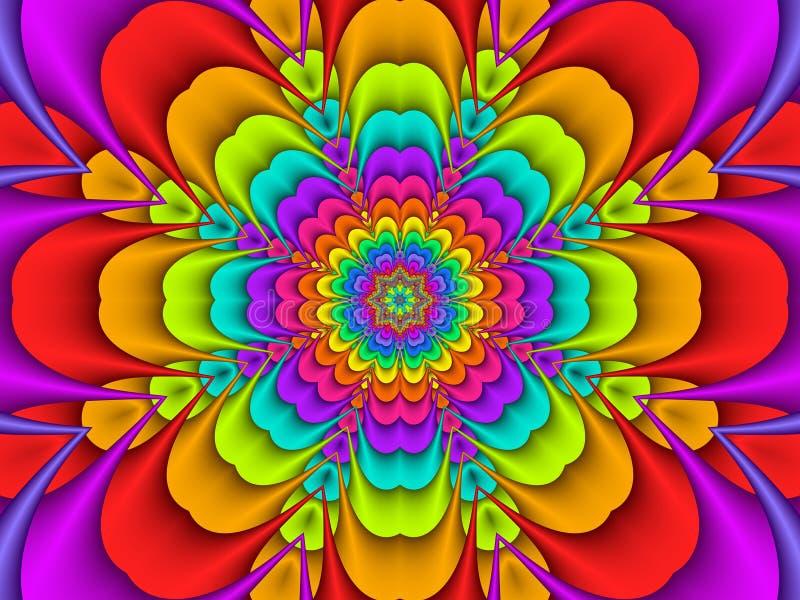 Fleur concentrique colorée d'arc-en-ciel illustration libre de droits