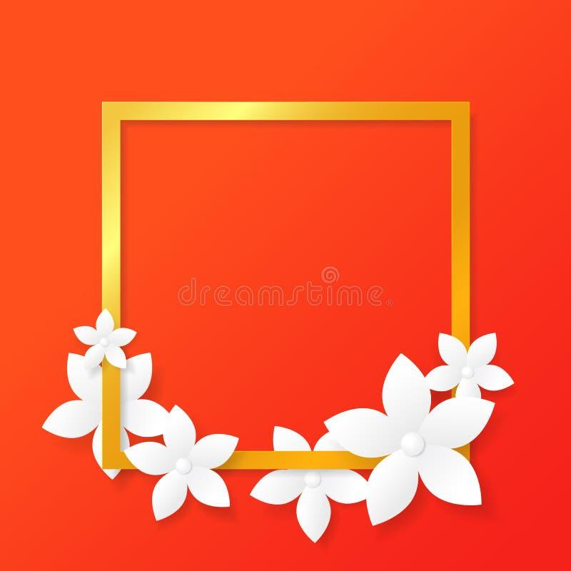 Fleur coupée de papier, vecteur illustration stock
