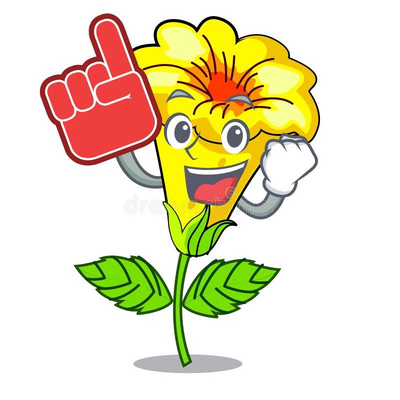 Fleur d'allamanda de doigt de mousse d'isolement dans la mascotte illustration stock