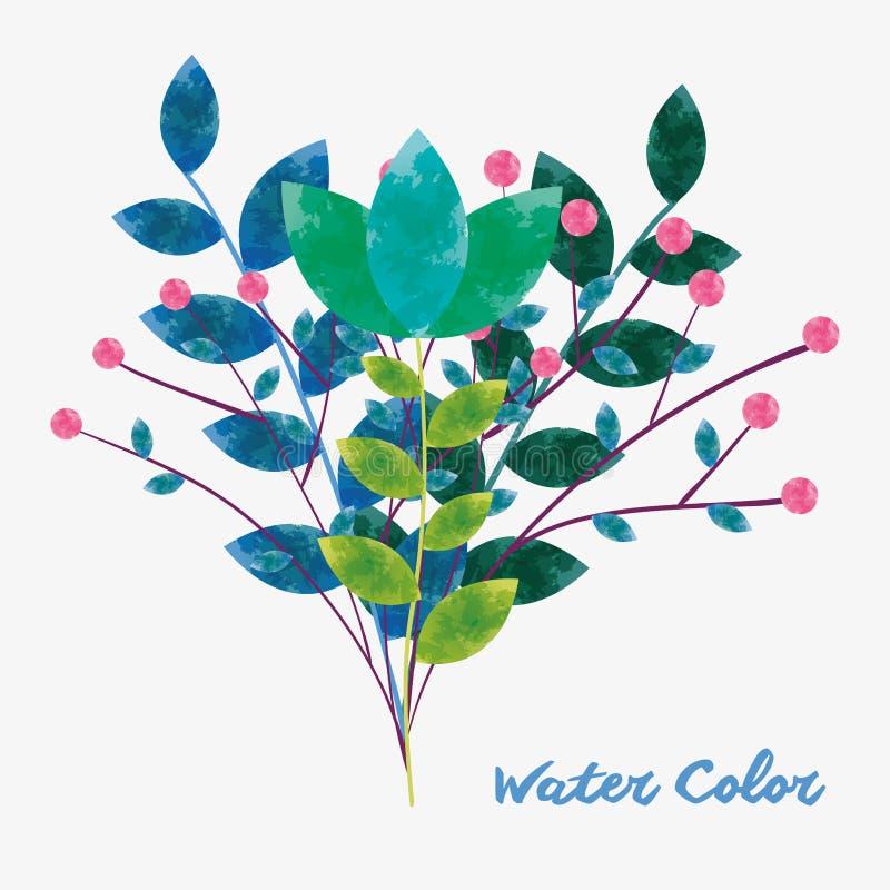 Fleur d'aquarelle avec l'image de feuilles de branches illustration libre de droits
