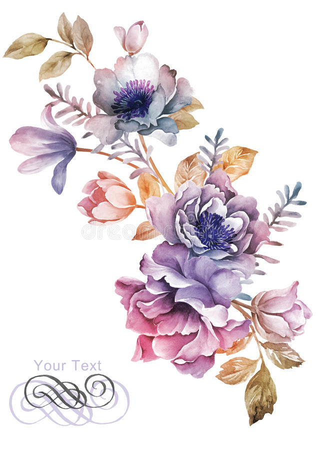 Fleur d'illustration d'aquarelle à l'arrière-plan simple illustration stock