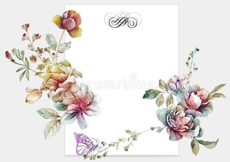 Fleur d'illustration d'aquarelle à l'arrière-plan simple illustration libre de droits