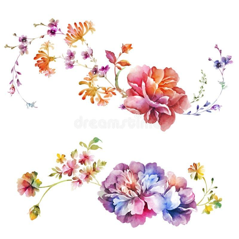 Fleur d'illustration d'aquarelle à l'arrière-plan simple illustration de vecteur