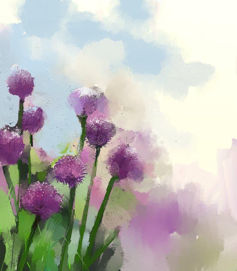Fleur d'oignon pourpre fleuve de peinture à l'huile d'horizontal de forêt illustration stock