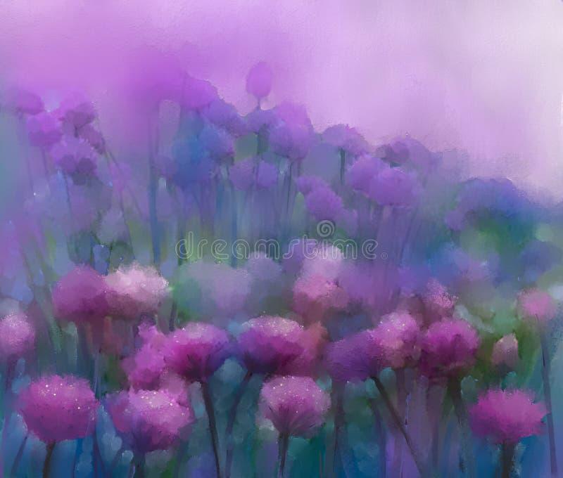 Fleur d'oignon pourpre fleuve de peinture à l'huile d'horizontal de forêt illustration de vecteur