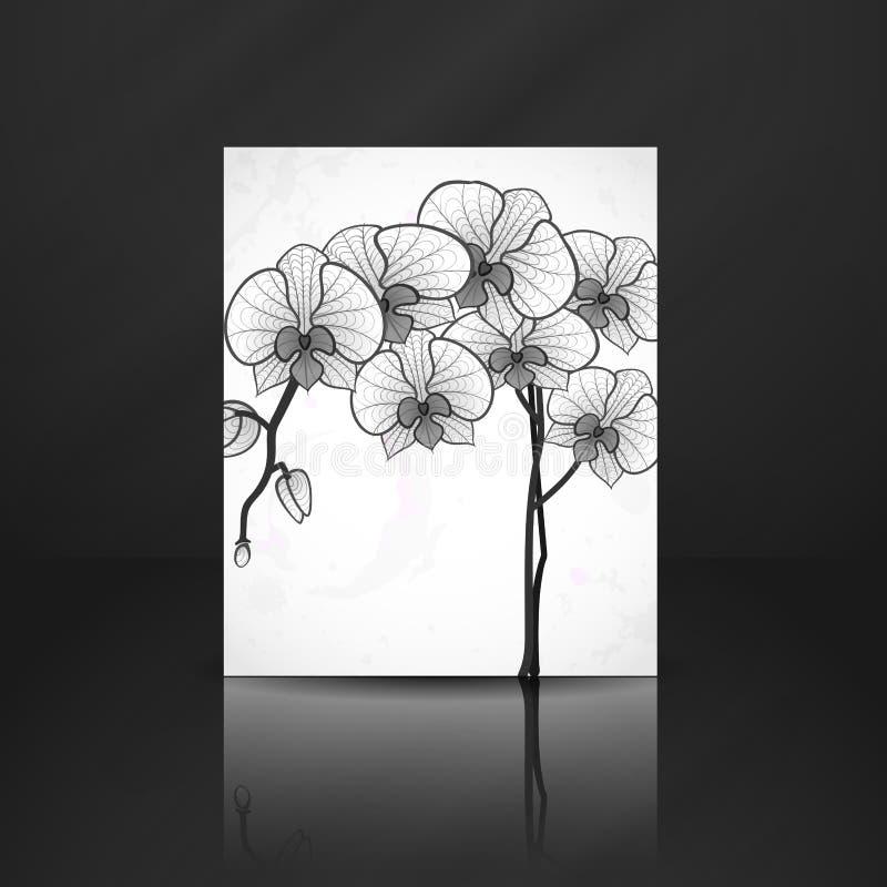 Fleur Dorchidée De Dessin De Main Illustration De Vecteur
