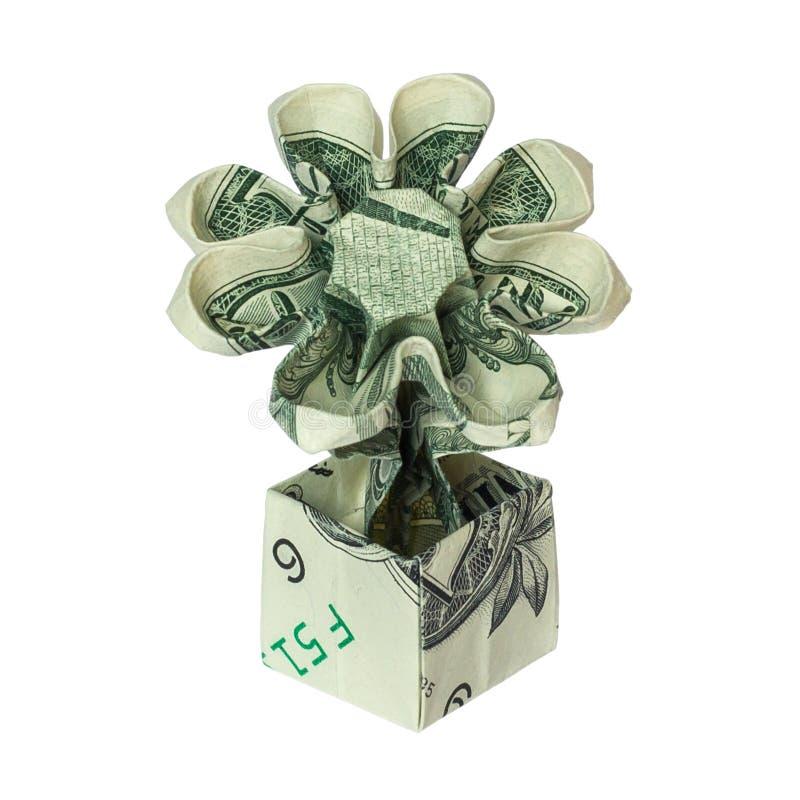 FLEUR d'origami d'argent dans le POT plié avec vrai un billet d'un dollar images stock