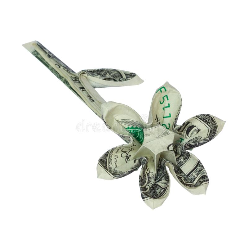 FLEUR d'origami d'argent pliée avec vrai un billet d'un dollar photos libres de droits