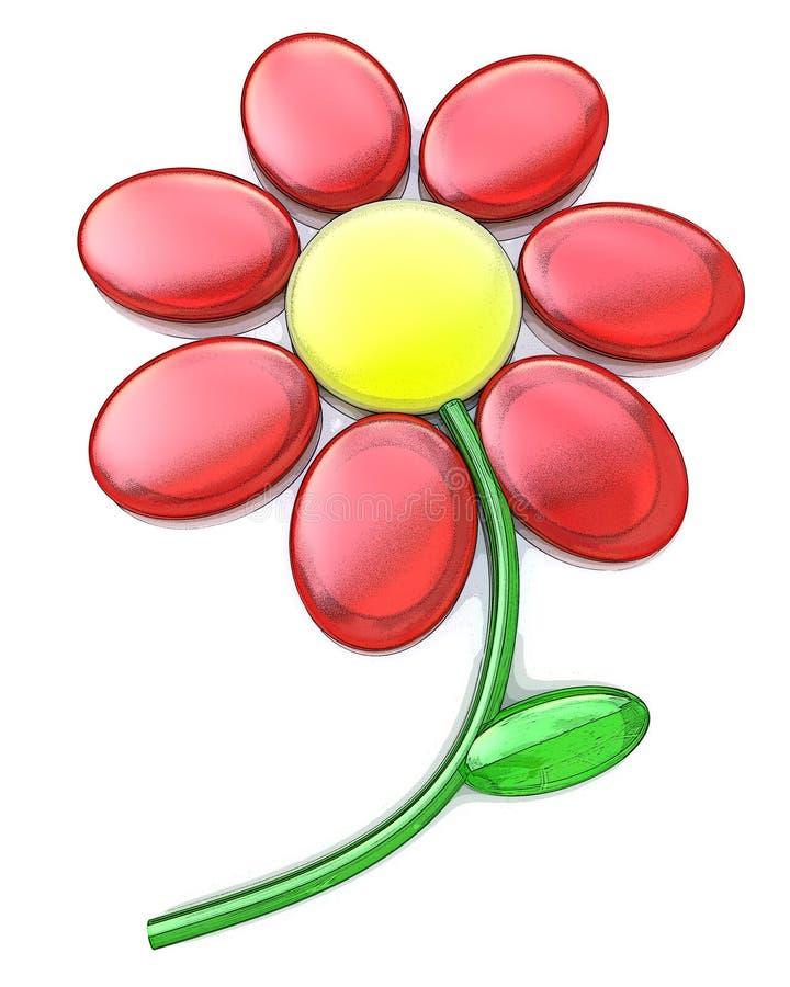 fleur 3d rouge d'isolement sur le blanc illustration stock