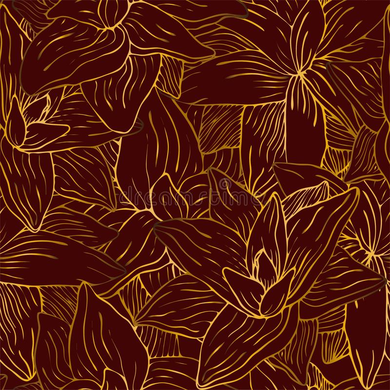 Fleur d'or sur le modèle rouge illustration de vecteur