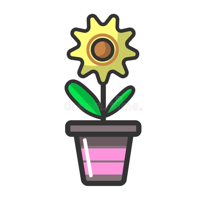 Fleur d'usine d'intérieur dans la décoration de maison de pot d'argile illustration stock