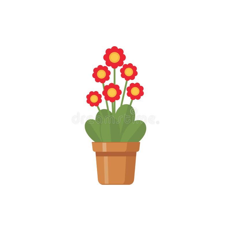 Fleur dans l'illustration de vecteur de pots d'isolement sur le fond blanc illustration stock