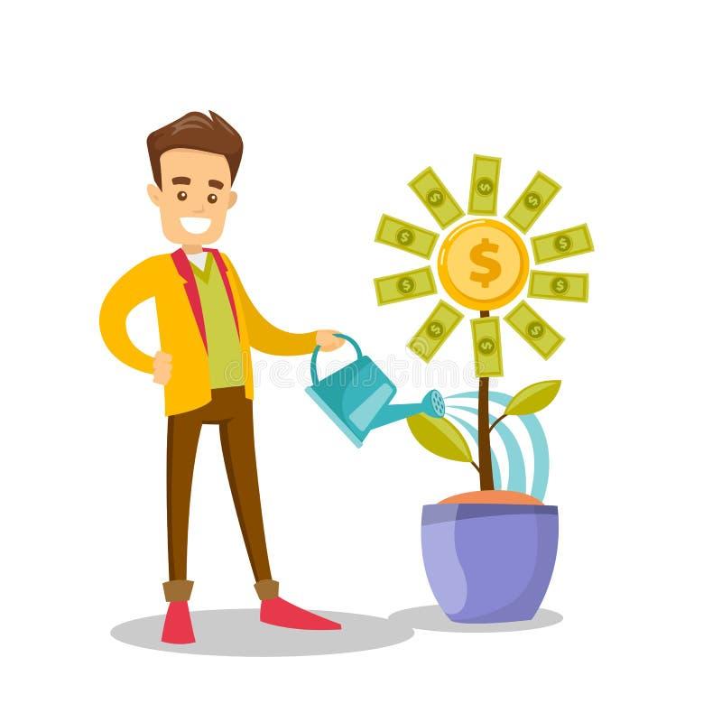 Fleur de arrosage d'argent d'homme d'affaires blanc caucasien illustration de vecteur