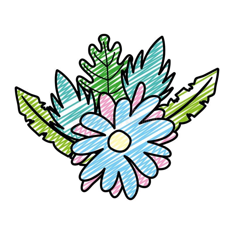 Fleur de beauté de griffonnage avec des feuilles de plantes tropicales illustration de vecteur