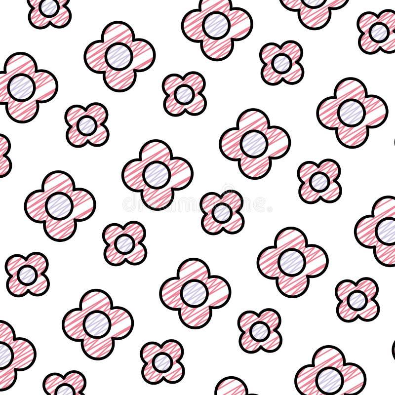 Fleur de beauté de griffonnage avec le backgroud exotique de pétales illustration libre de droits