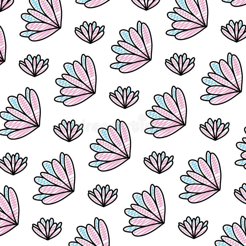 Fleur de beauté de griffonnage avec le fond exotique de pétales illustration stock