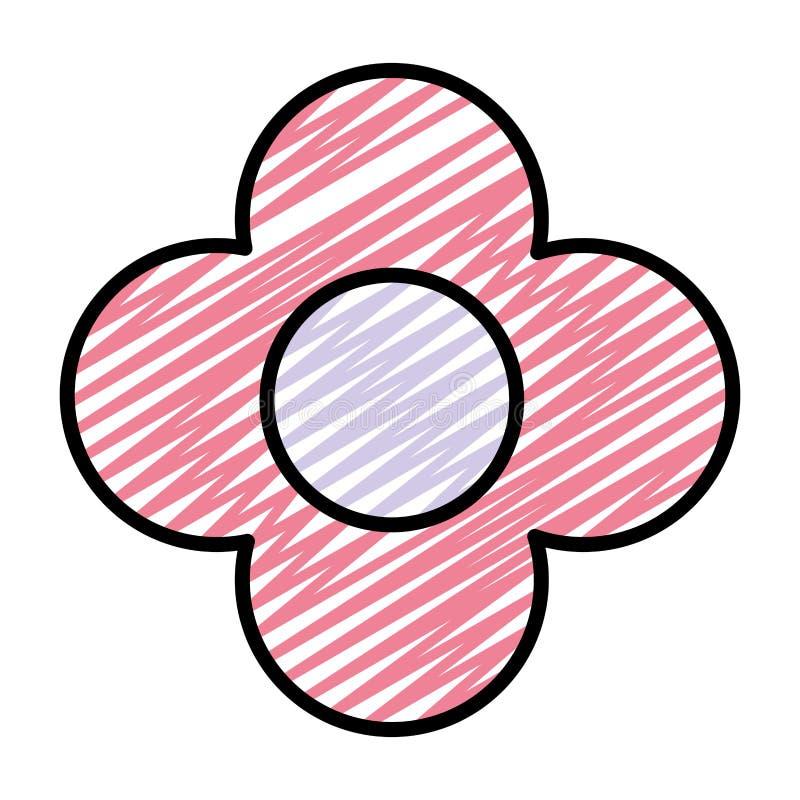 Fleur de beauté de griffonnage avec le style exotique de pétales illustration stock