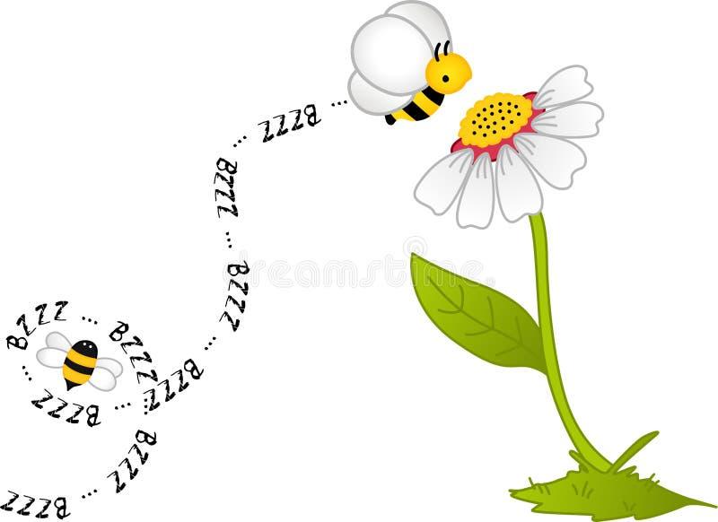 Fleur de Bzzz d'abeille illustration de vecteur