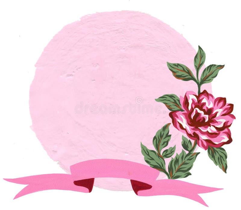 Fleur de cadre floral de guirlande de cru de gouache d'aquarelle et feuilles et ruban doux pour la partie nuptiale de carte de vo illustration stock