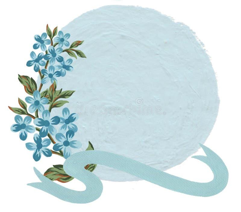 Fleur de cadre floral de guirlande de cru de gouache d'aquarelle et feuilles et ruban doux pour la partie nuptiale de carte de vo illustration de vecteur