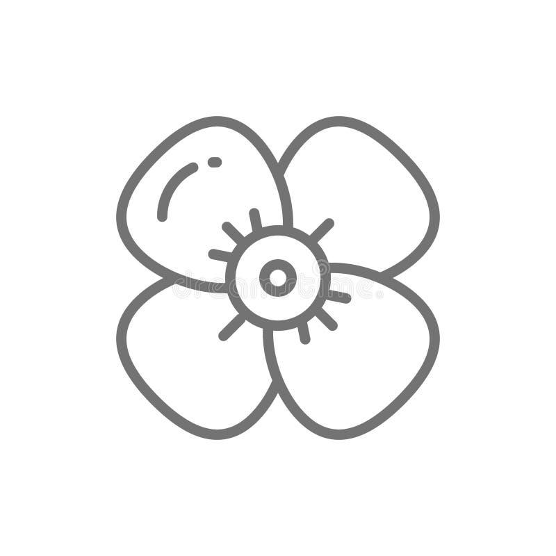 Fleur de cerise, ligne icône de fleur de pomme illustration libre de droits
