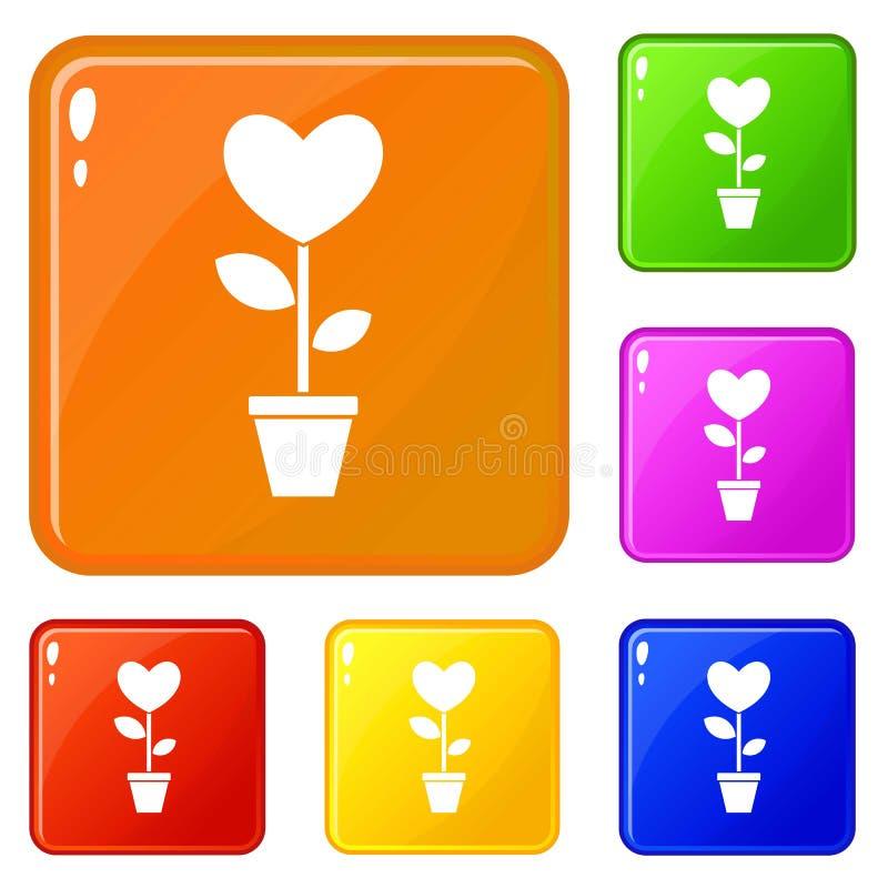 Fleur de coeur dans une couleur de vecteur d'ensemble d'icônes de pot illustration stock