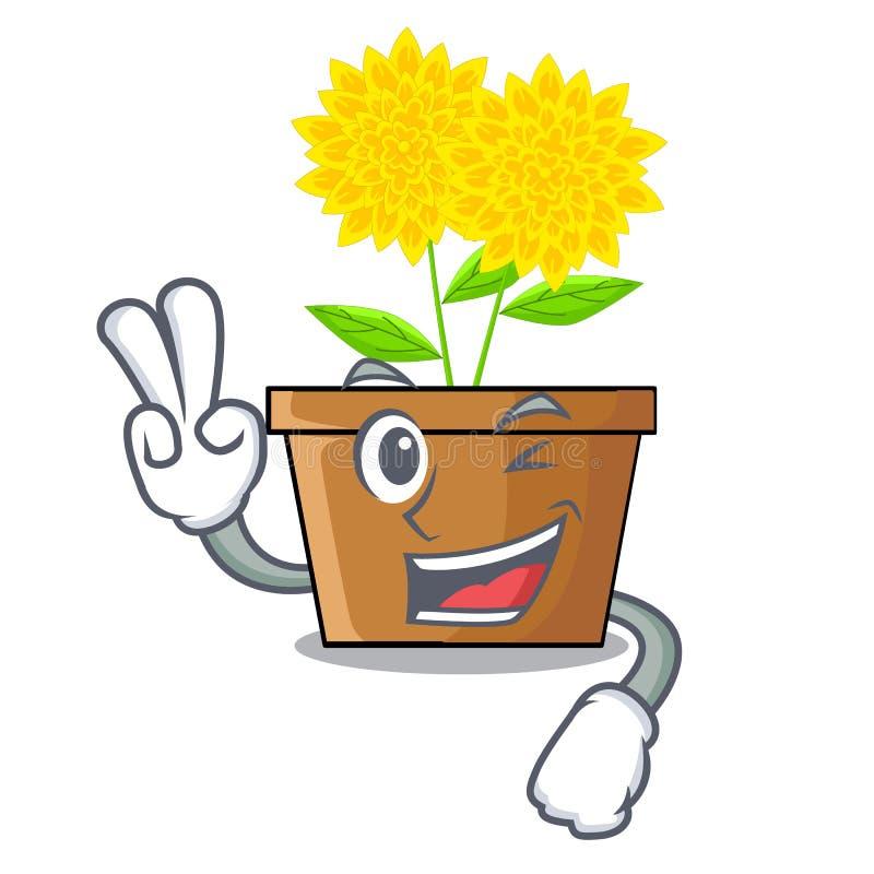 Fleur de dahlia de deux doigts d'isolement dans la bande dessinée illustration de vecteur