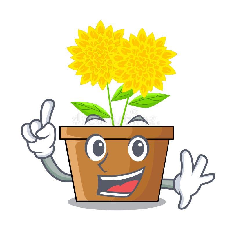 Fleur de dahlia de doigt dans les pots de caractère illustration de vecteur
