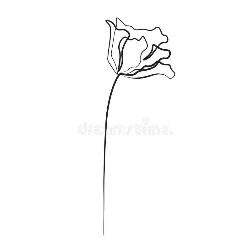 Fleur de dessin au trait, illustration impression un de vecteur illustration libre de droits
