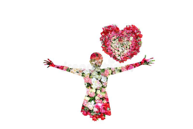 Fleur de femelle et de roses dans la double exposition images stock