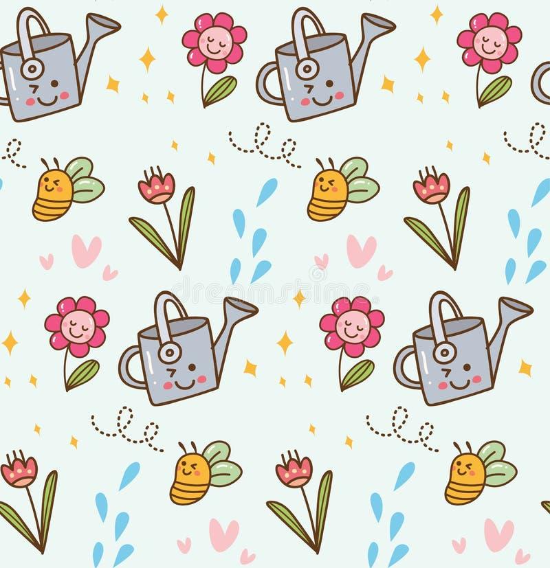Fleur de floraison à l'arrière-plan de style de kawaii illustration de vecteur