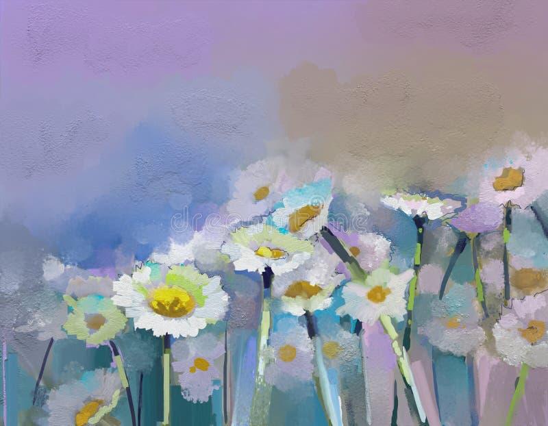 Fleur de Gerbera fleuve de peinture à l'huile d'horizontal de forêt illustration de vecteur