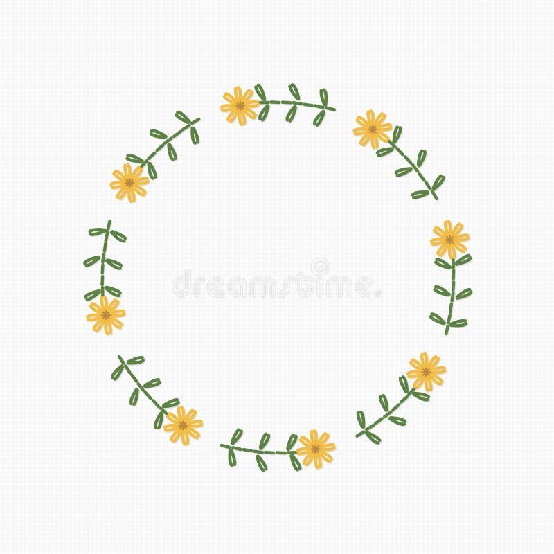 Fleur de guirlande de broderie, vecteur illustration stock