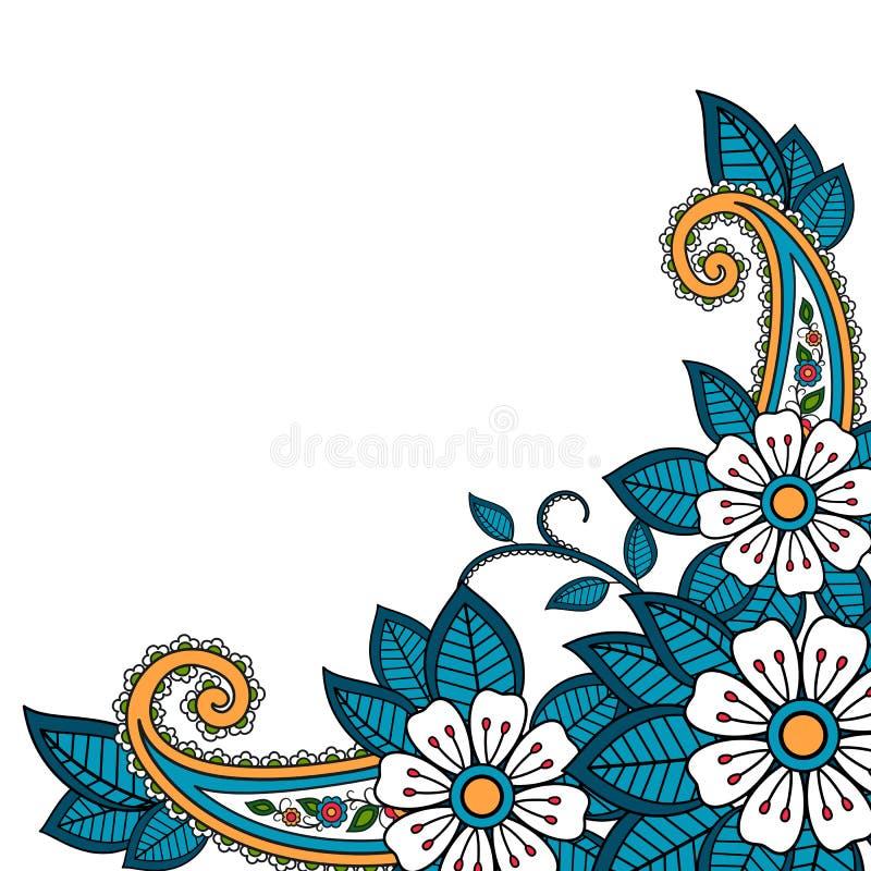 Fleur de henné et fond de Paisley illustration libre de droits