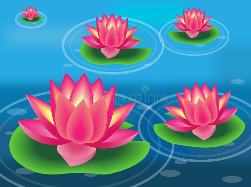 Fleur de l'eau et garniture de lis illustration stock