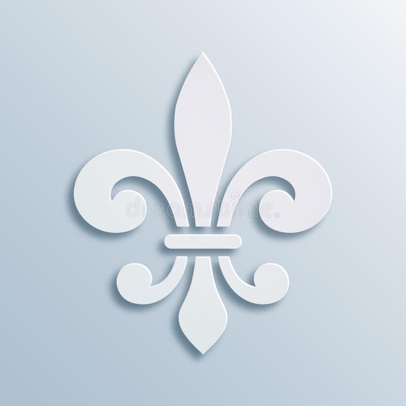 Fleur-de-lis background. Symbol of French heraldry. Paper style illustration. White vector geometric bas-relief, elegant.  royalty free illustration