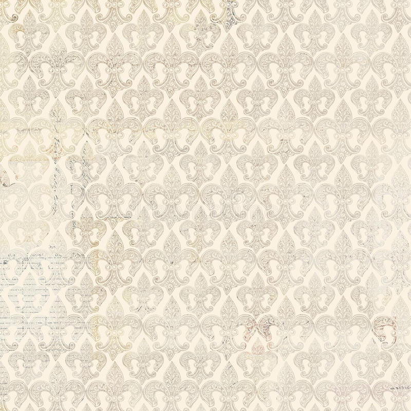 Fleur-de-lis beige repeat seamless pattern. French antique vintage Fleur-de-lis beige repeat seamless pattern royalty free stock photography