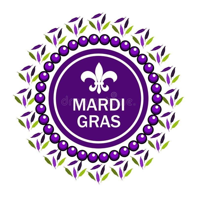 Fleur de lis berömstämpel Mardi Gras Vector Illustration Mardi Gras partidesign Mardi Gras Karneval Feta tisdag vektor illustrationer