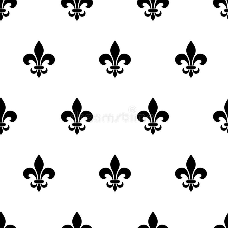 Fleur-de-lis black and white seamless pattern. Vector illustration. stock illustration