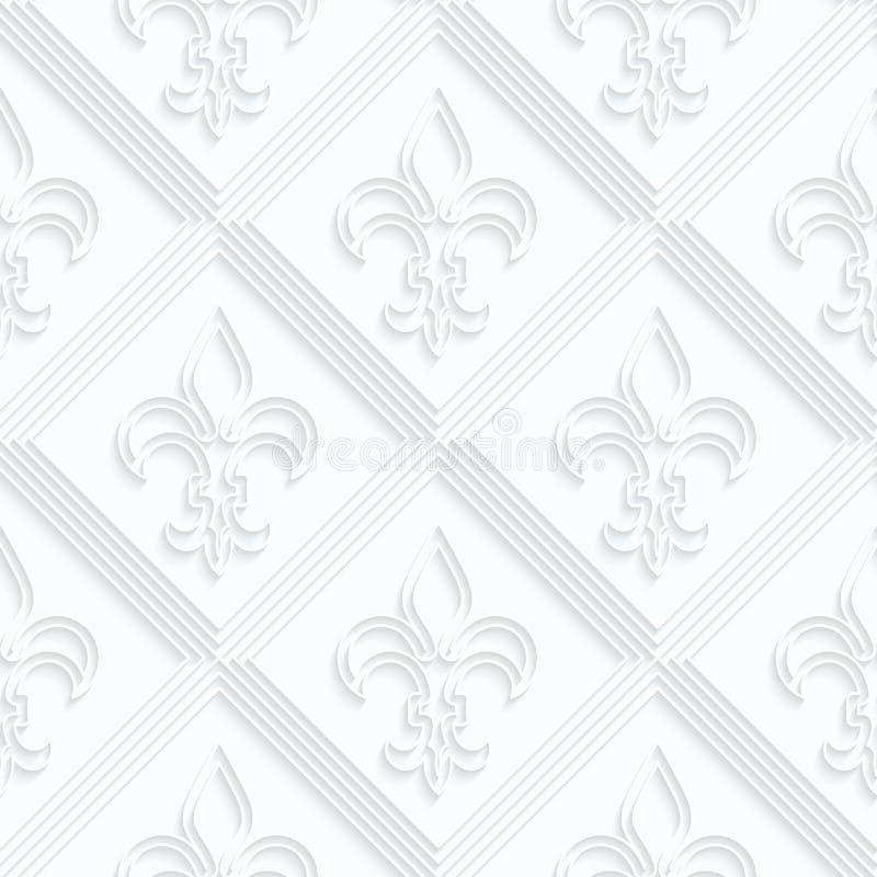 Fleur de lis de papier de Quilling avec bigrille illustration stock